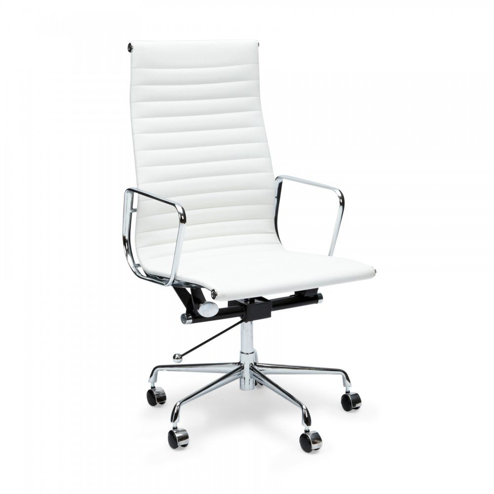 Charles Eames Style White Ribbed Office Chair Love