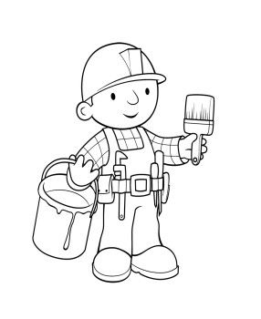 Bob The Builder And Paintbrush Coloring Page For Kids Coloring