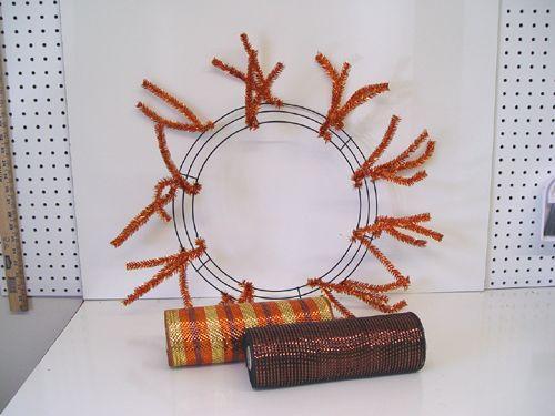 Autumn Ruffle Wreath Tutorial using Copper Pencil Wreath, Wide Foil Deco Poly Mesh, Moss Bird Nest, Plaid Ribbon, RAZ Birds