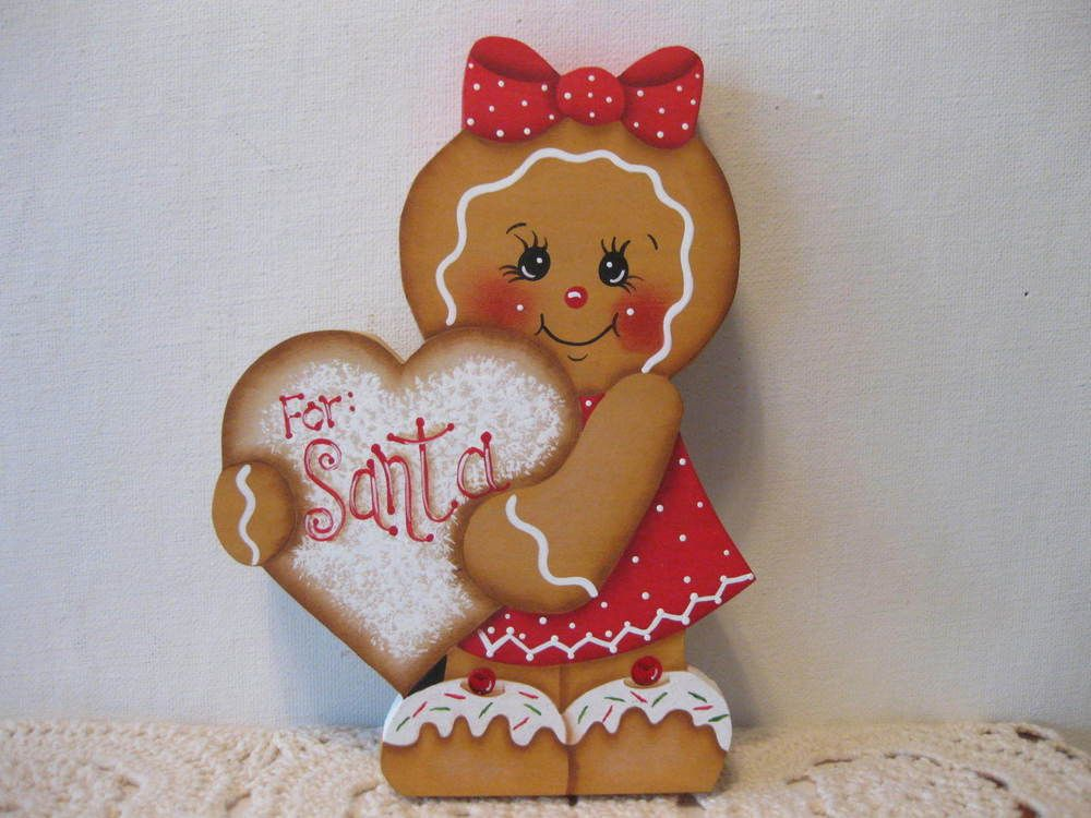 Details About Hp Hand Painted Wooden Gingerbread Peace Angel Shelf