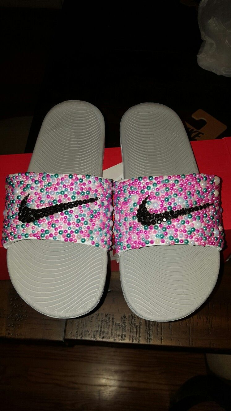 1f51a9bcbdab71 Custom bling Nike slides...get yours email me at stlouismyles yahoo ...
