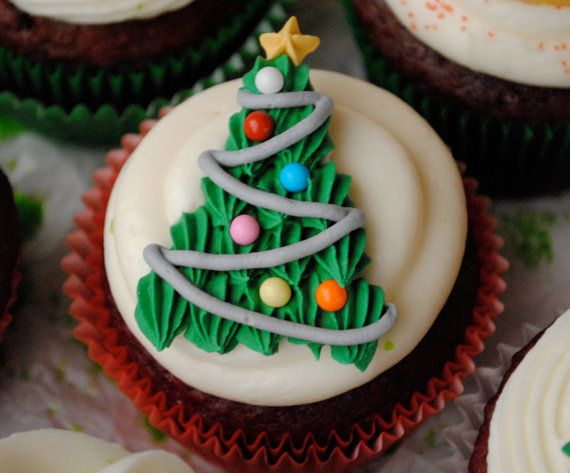 Glacage Royal Decorations De Noel Arbre Cupcake Toppers Royal