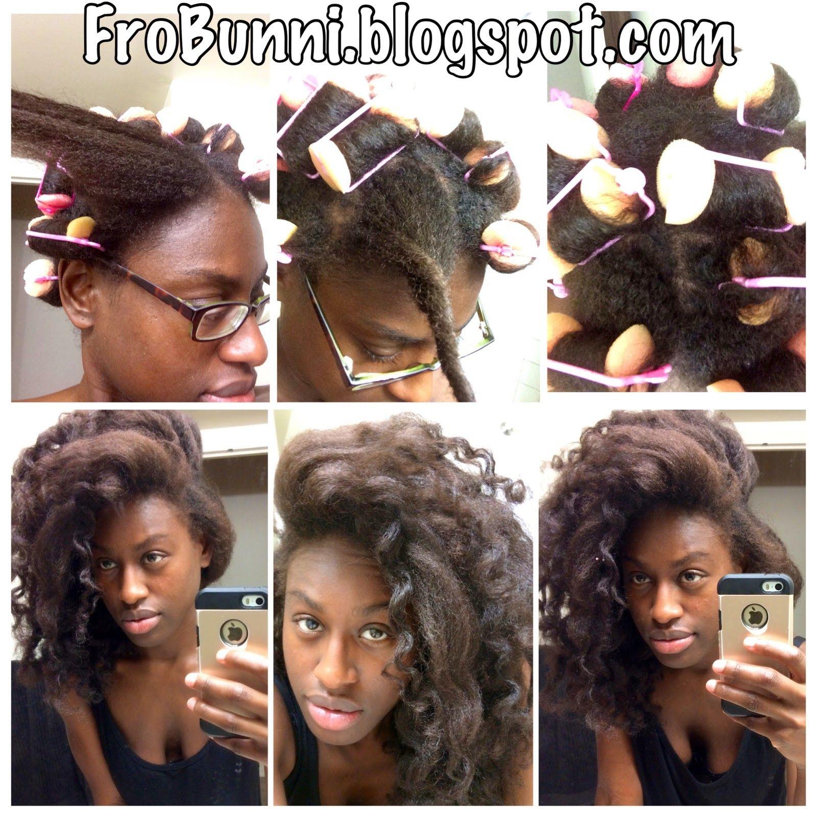 Frobunni Foam Sponge Roller Set On Natural Hair Roller Set Natural Hair Natural Hair Styles Curly Hair Styles Naturally