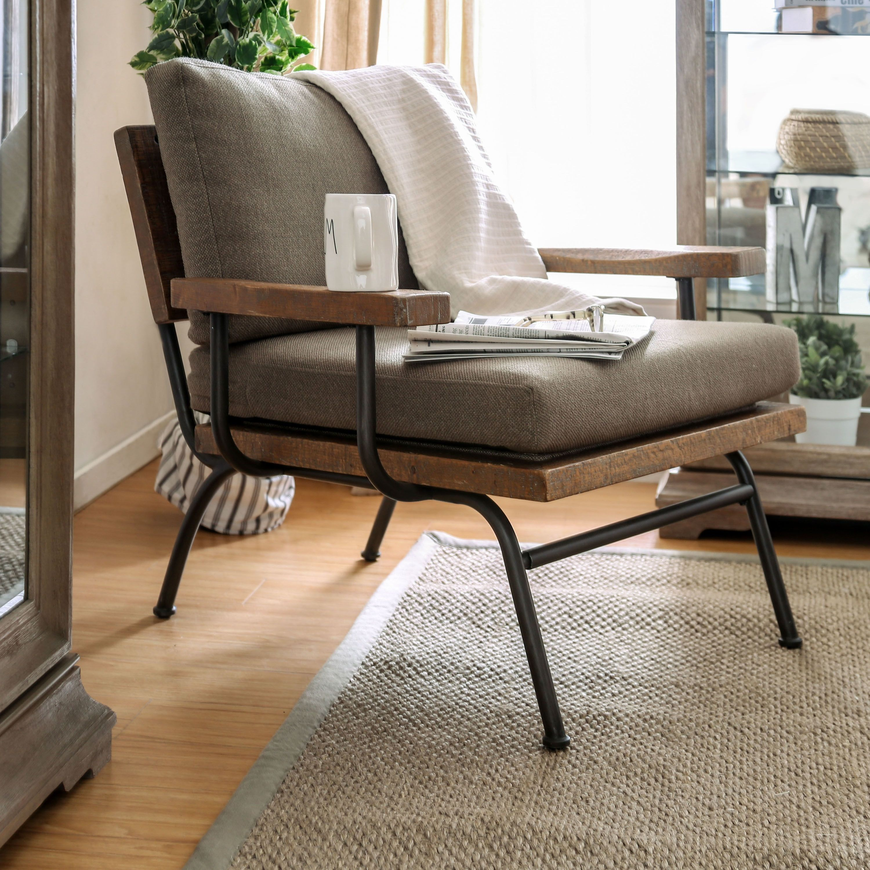 Copenhagen Industrial Taupe Upholstered Accent Chair by FOA