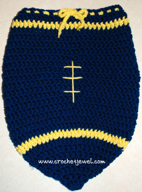 Crochet Baby Newborn Football Cocoon, Michigan colors, http ...