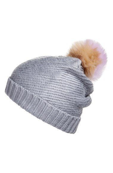 BCBG Faux Fur Pompom Knit Beanie available at  Nordstrom  2d6ac79dcf5