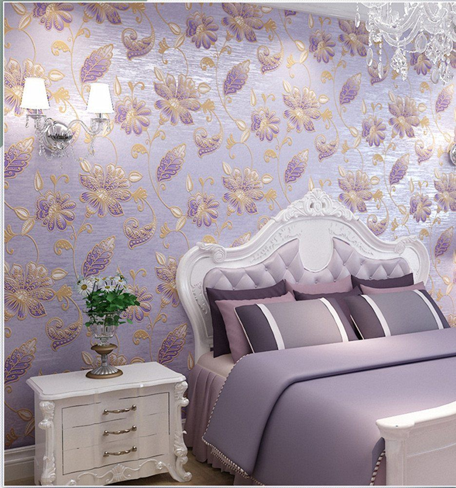 Blooming wall extra thick 3d non woven elegant purple rose blooming wall extra thick 3d non woven elegant purple rose flocking embossed wall amipublicfo Gallery