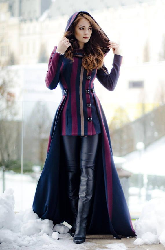 Photo of Long woolen coat with skirt and hood, long winter handmade coat | Rebecca