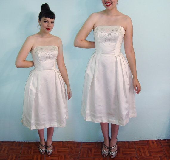 Perfect 50s Silk Hourglass Wedding Bridal Dress - strapless bustier ...