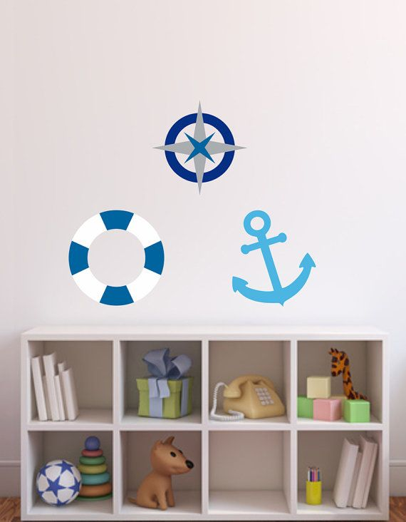 Wall decal Sailor style anchor compass by LoonyBinWorkshop on Etsy