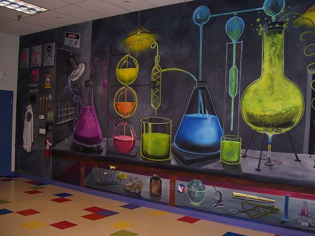 Middle School Science Classroom Decorations ~ Bubbling potions room mural at the lab