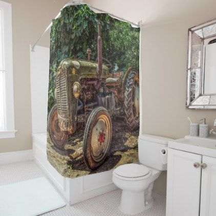 Rustic Farm Tractor Shower Curtain Zazzle Com Rustic Style