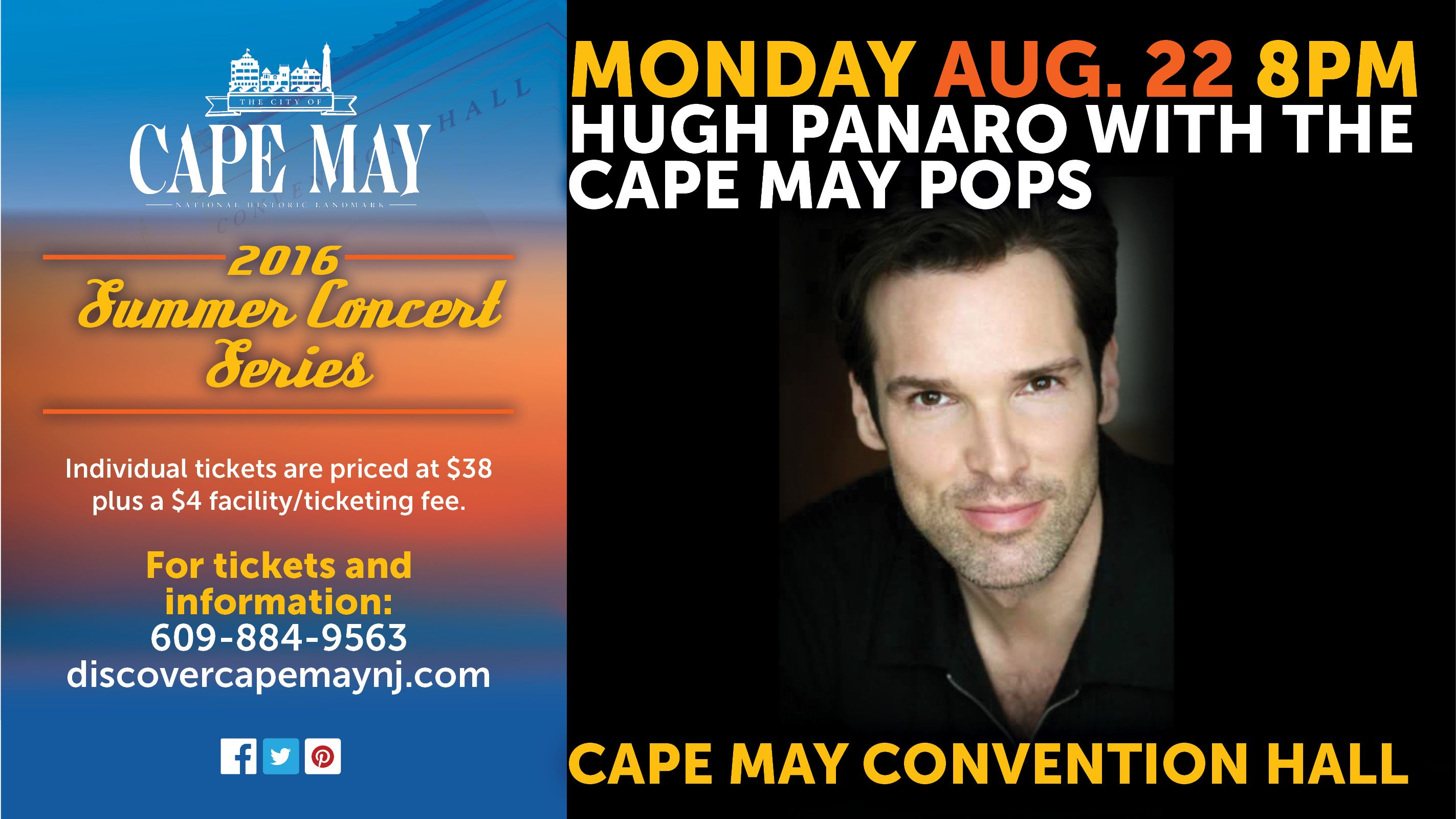 Hugh panaro with the cape may pops for tickets go to