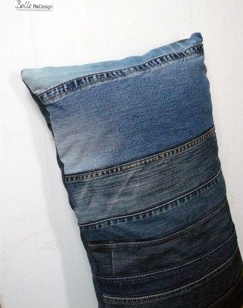 Kussen gemaakt van jeans van BelleReDesign op DaWanda.com