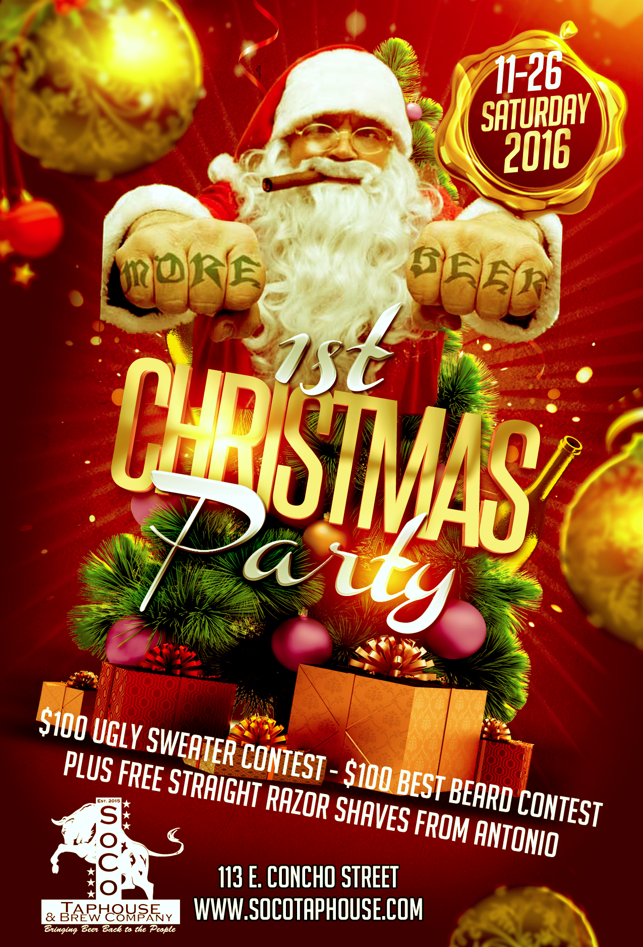 1St Christmas Party Flyer #Design For Soco Taphouse & Brewery