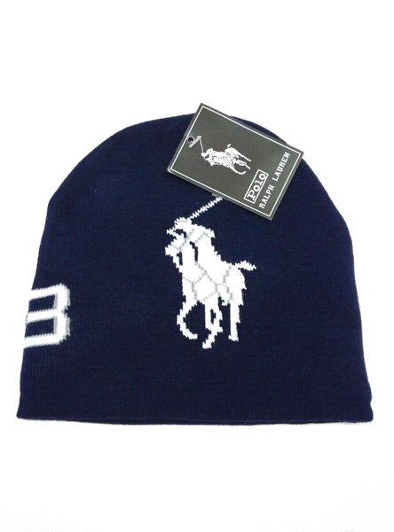 Men's / Women's Polo Ralph Lauren Natural Big Pony Logo No 3 Signature Skull Knit Beanie Hat - Black / White