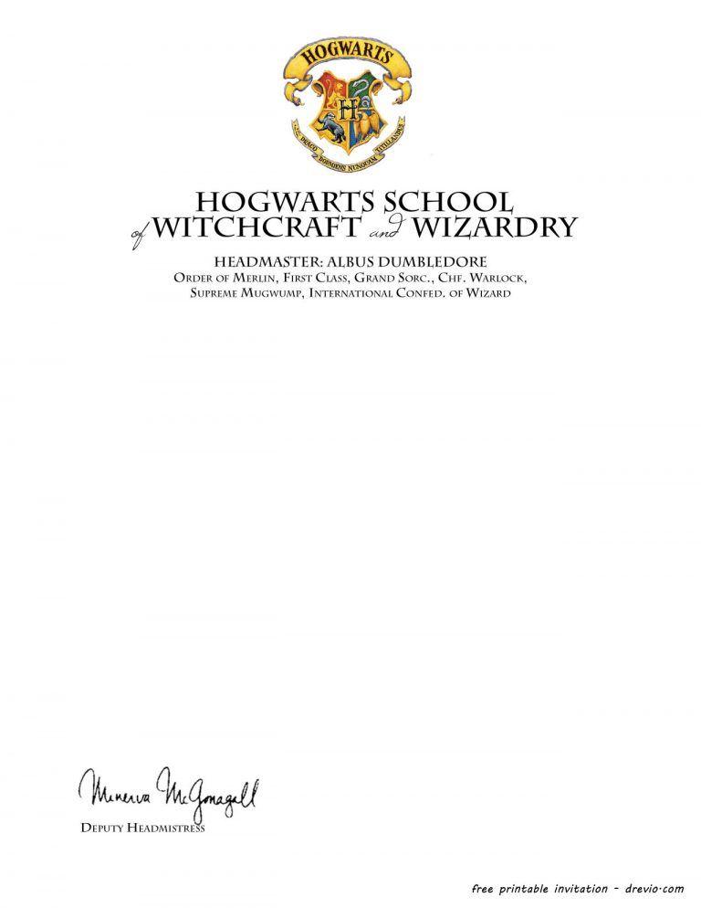 Free Printable Harry Potter Hogwarts Invitation Template Harry