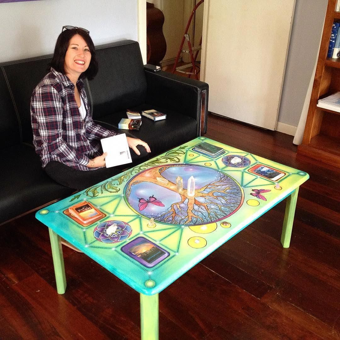 My Sister Christening My New Tarot Card Table Pretty Fun Crystals Tarotcards Tarot Table Furniture Treeoflife E Table Cards Painted Dining Chairs Tarot