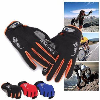 Unisex Nylon Silica Gel Driving Gloves Full Fingers Thick Skidproof Outdoor Cycling Mittens