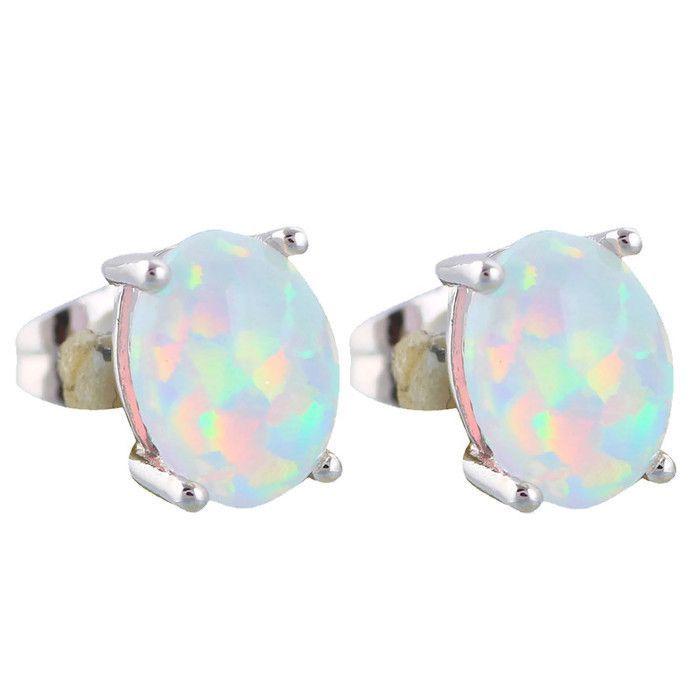 Sterling Silver Stunning Oval Cut White Opal Stud Earrings
