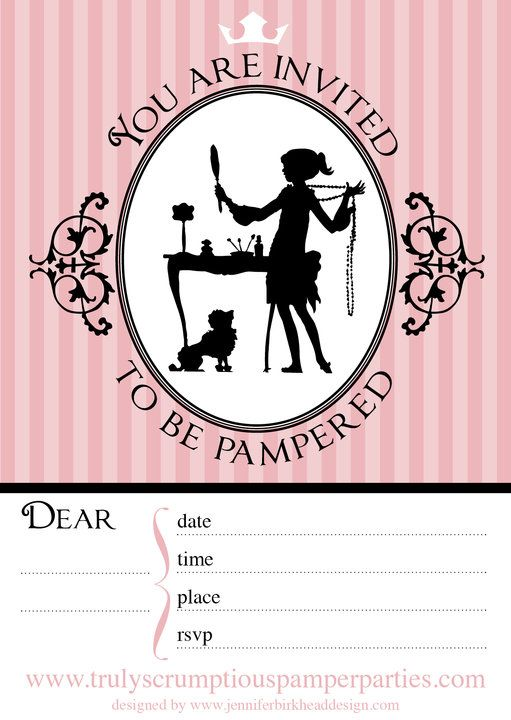 pamper party invitations free printables image search