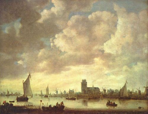 Landschaftsmalerei barock  Jan van Goyen. Blick auf die Merwede bei Dordrecht. Um 1645, Holz ...