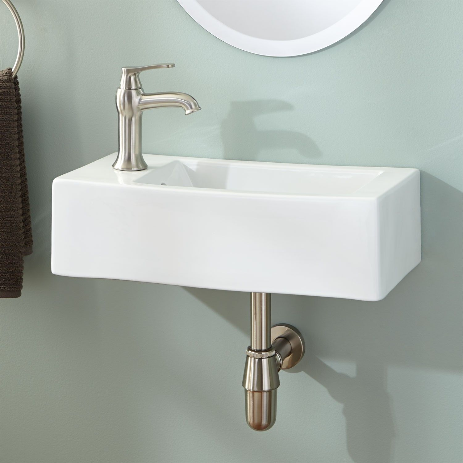 Zita Porcelain Console Sink with Brass Stand