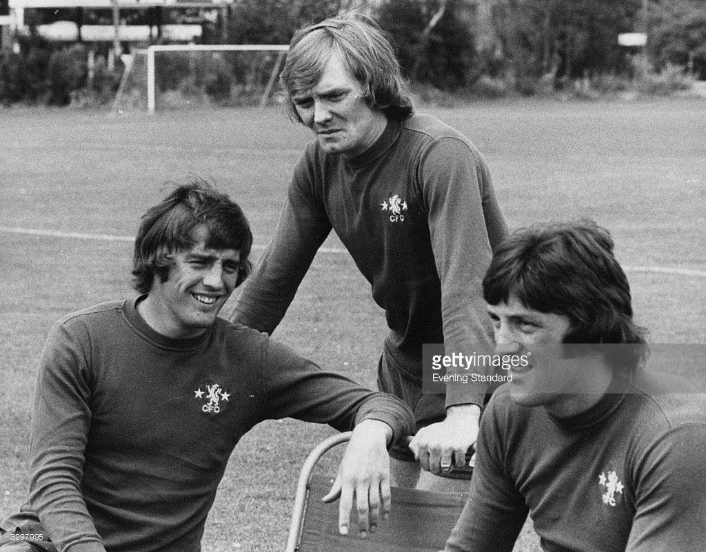 Summer 1974. Chelsea players Ian Hutchinson, David Hay and Micky ...