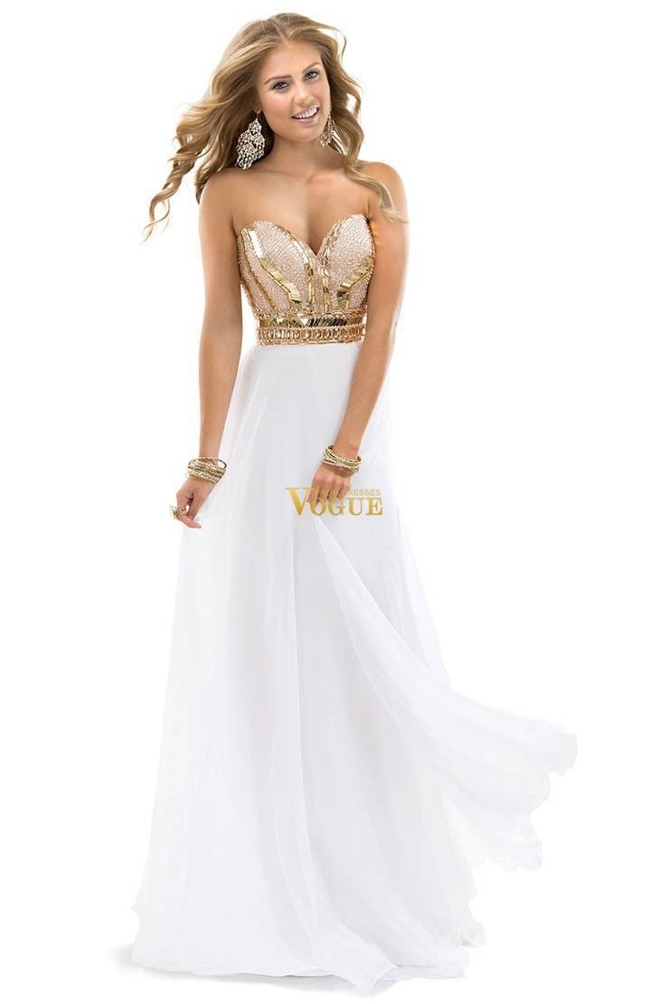 2014 New Arrival Free Shipping Best Selling Noble Beaded Sweetheart Chiffon White Rose Gold Sparkle Evening Dress Prom Gowns US $36.70