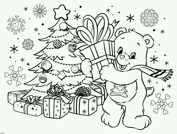 Pin By Care Bears World On Care Bear Christmas 4 Bear Coloring Pages Coloring Pages Christmas Coloring Pages