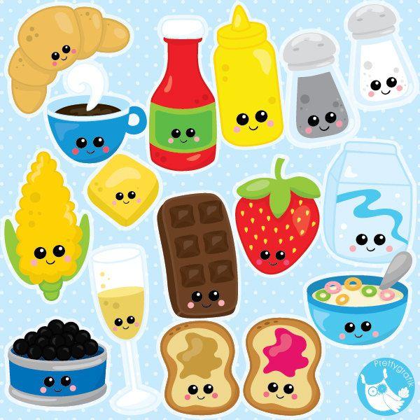 BUY20GET10 - Food clipart commercial use, Kawaii Food ...