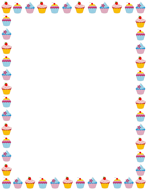 Cupcake page border. Free downloads at http://pageborders ...