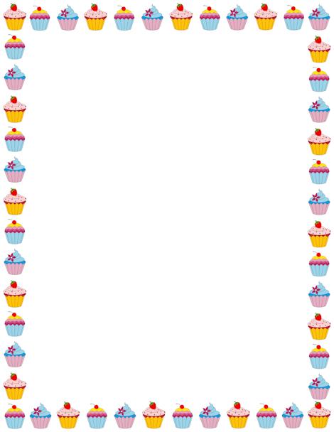 Cupcake Page Border. Free Downloads At Http://pageborders.org/download  Downloadable Page Borders For Microsoft Word