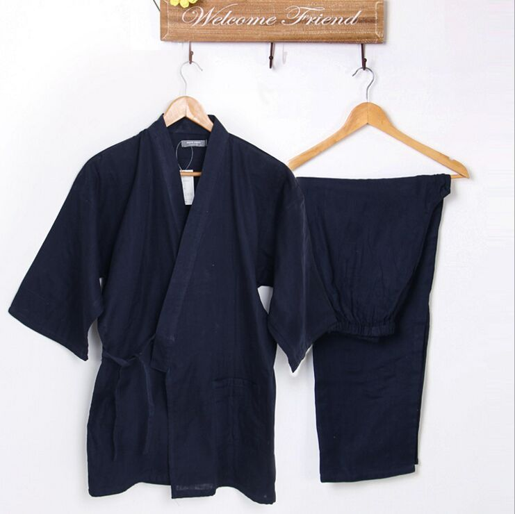 e84304450a Cotton Yukata Japanese Kimonos Traditional Japanese Men s Clothing Japanese  Pajamas Men s Sleepwear Lounge Home Clothing Suits-in Asia   Pacific  Islands ...