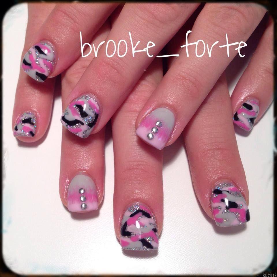 acrylic #gelpolish #glitter #studs #camo #holographic #pink #silver ...