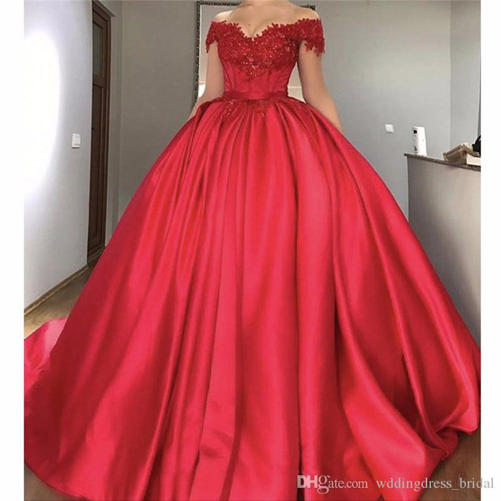Off shoulder wedding dress red satin ball gown long evening party