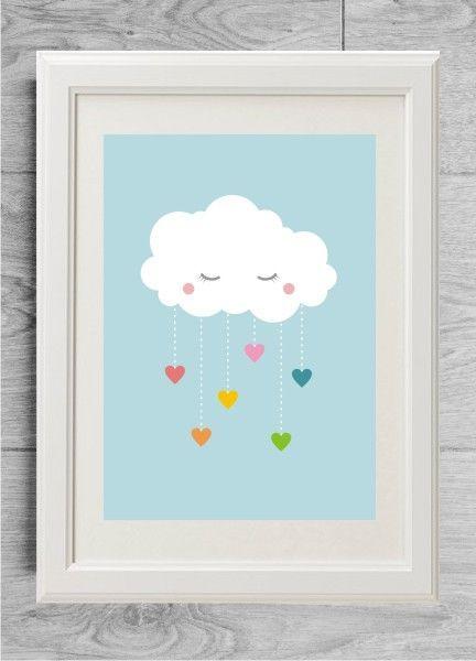 Nursery wall art, Rainbow nursery print with cloud and ...