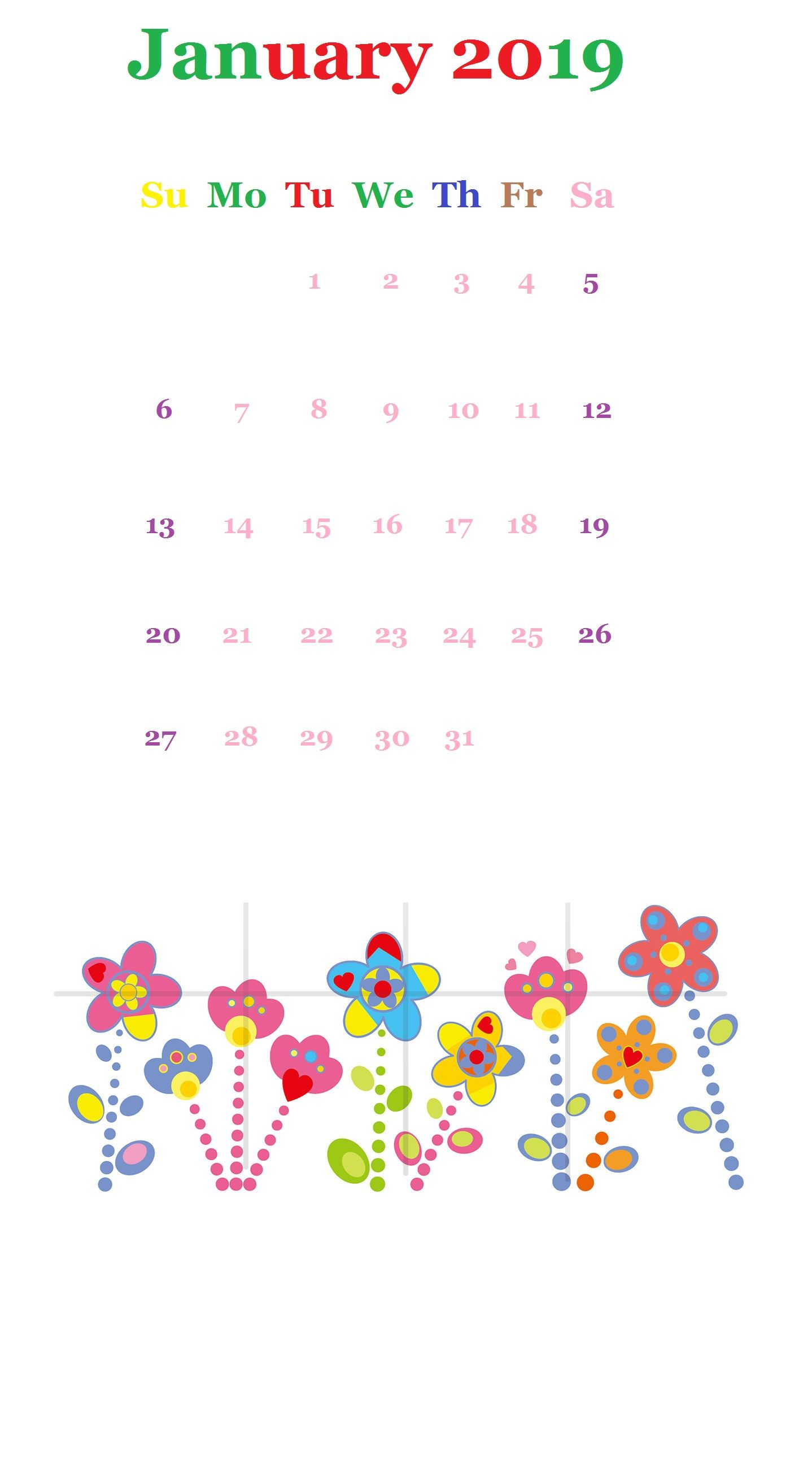 January 2019 iPhone Calendar Wallpaper (With images