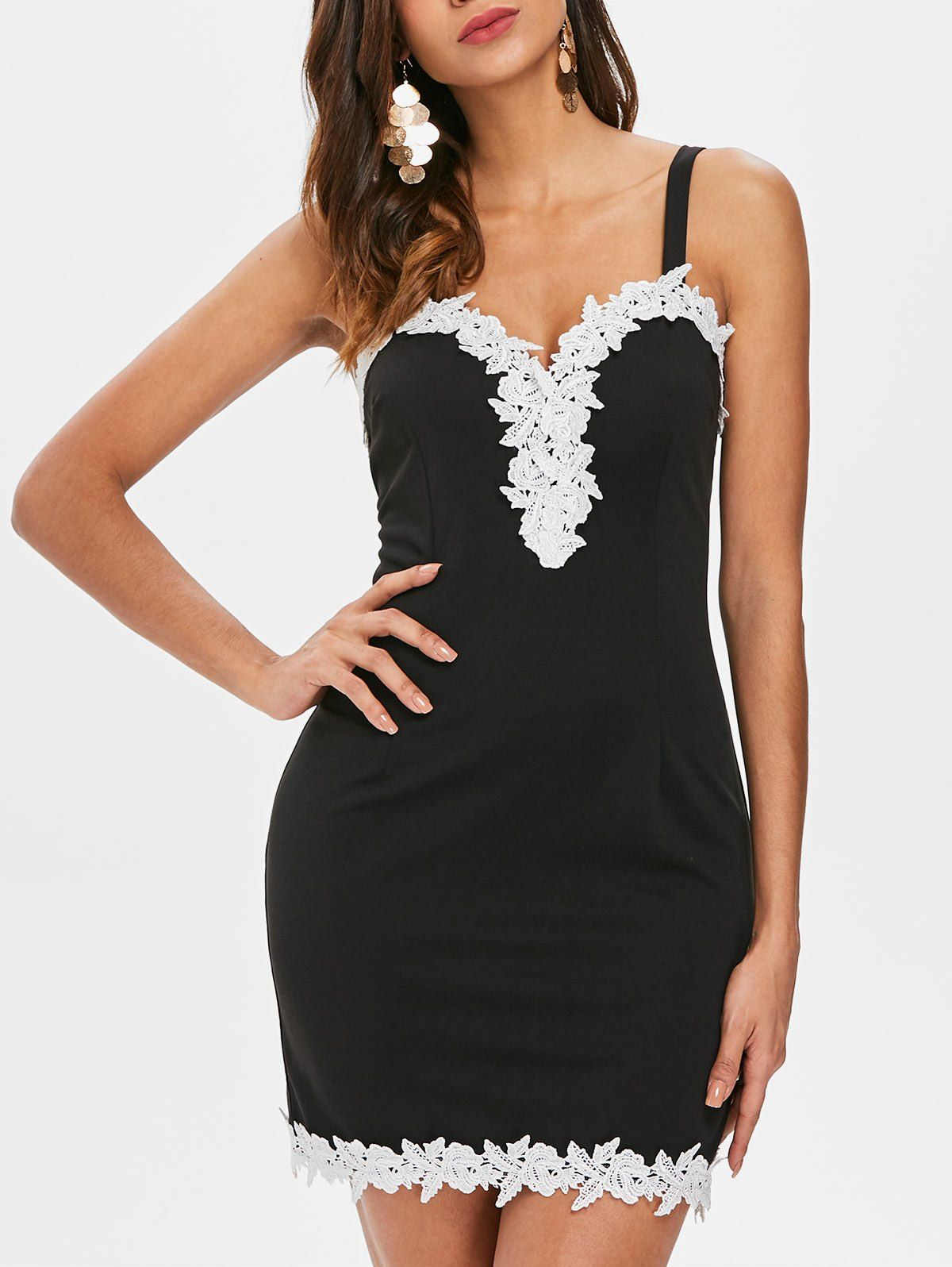 6da4708d893 Open Back Lace Color Block Dress in Black  dress  dresses  fashion ...