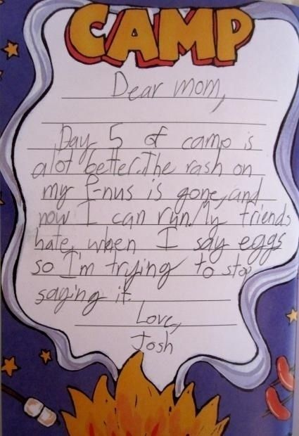Kid Writes Hilariously Sad Letter From Camp Picture  Dear Mom