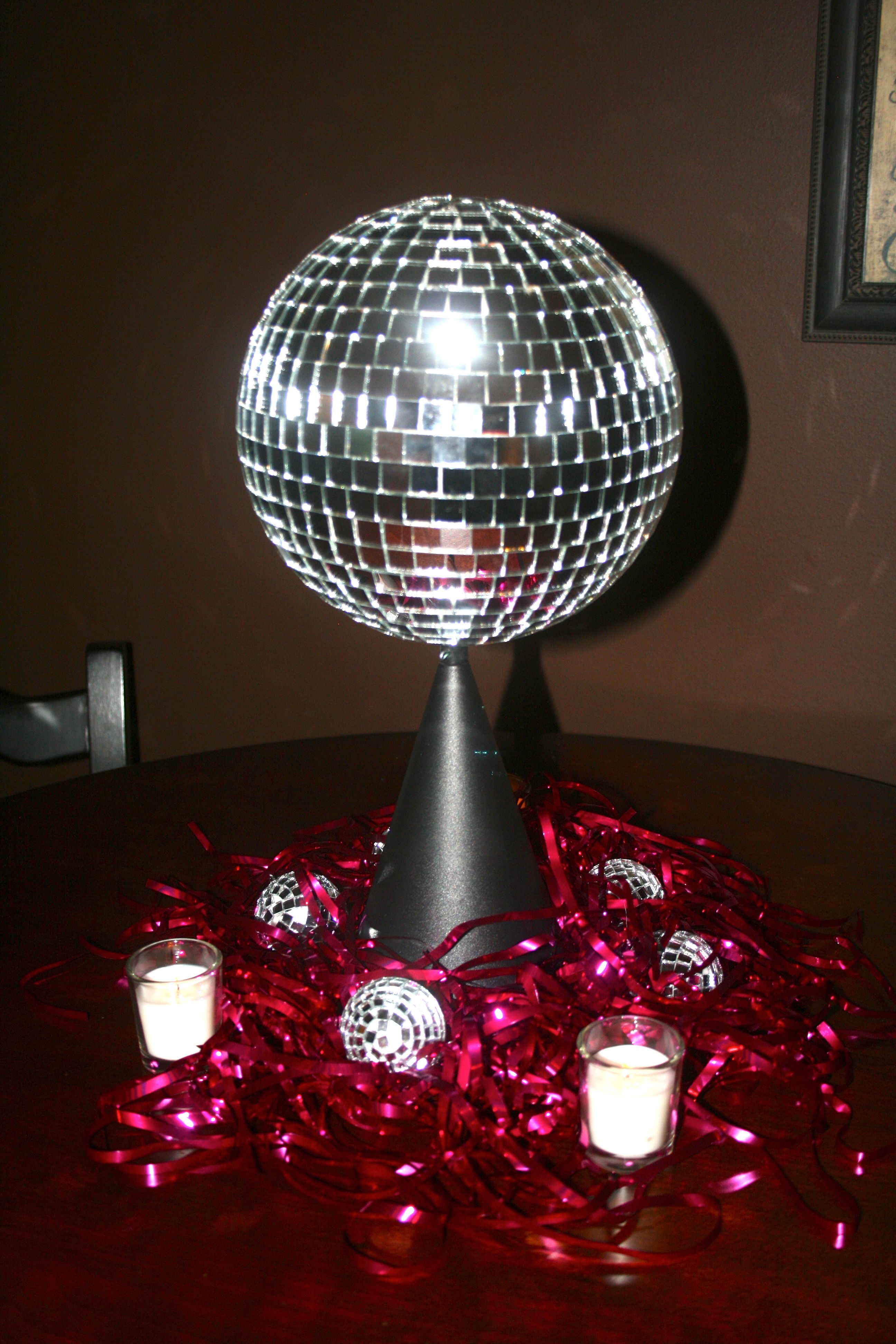 Rotating disco ball centerpieces by the party girl for Ball decoration ideas