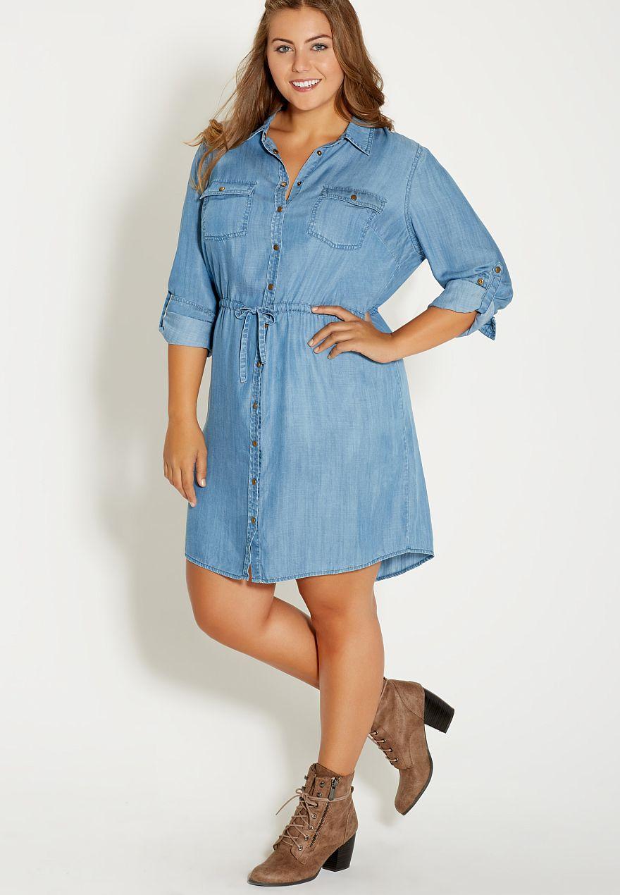 Plus size chambray shirtdress in medium wash maurices for Plus size chambray shirt