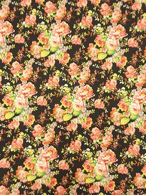 Black/Citrus/Pink/Multi Roses Print Poly/Lycra Textured Double Knit 56W