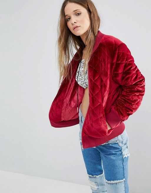 Boohoo Quilted Velvet Bomber Jacket Clothes Pinterest