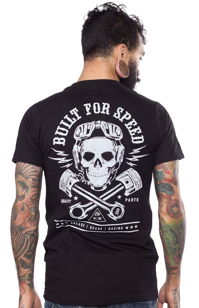 525fd29067a STEADY BUILT FOR SPEED T SHIRT The perfect t-shirt for any greaser or  gearhead! This 2 sided printed t-shirt features a skull wearing aviator  goggles with ...
