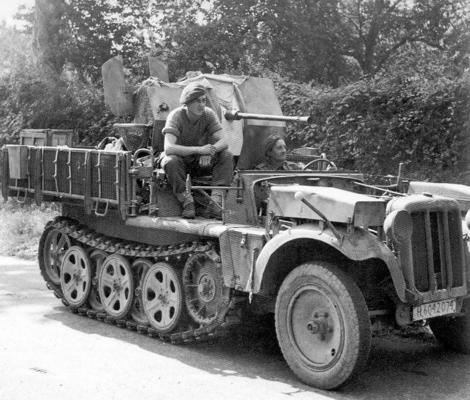 Captured German half-track SdKfz 10/4.