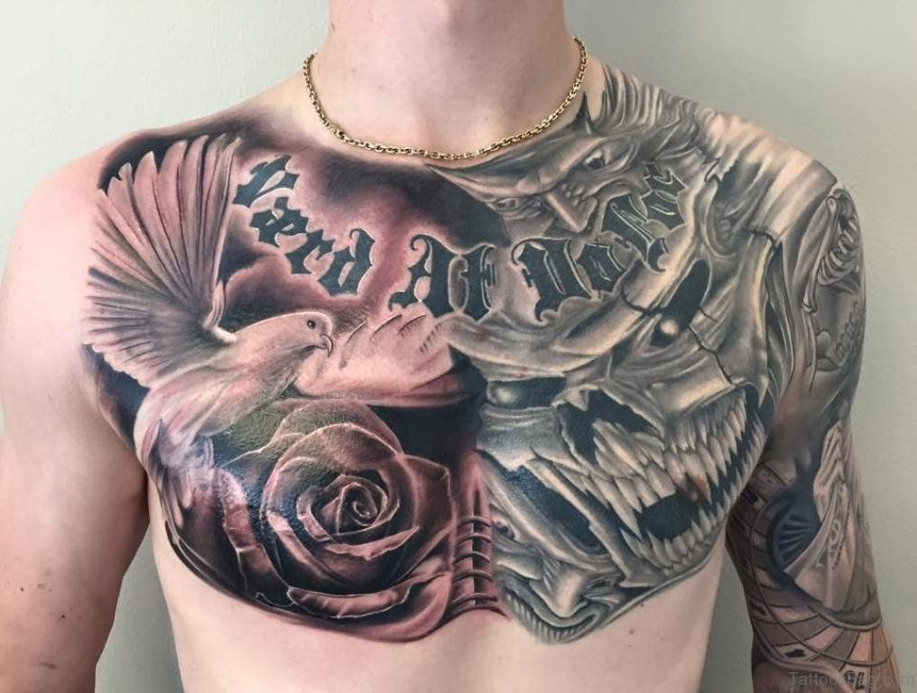 Amazing Skull and Flying Dove Tattoo On Chest Rose chest