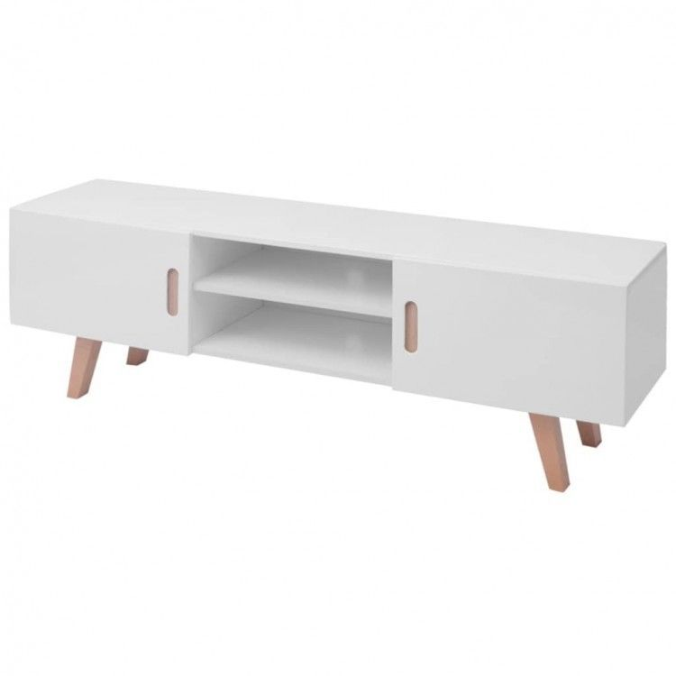 High Gloss Tv Stand White Storage Media Console Carrier Dvd Player Display Table 156 00end Date Ebay S Home Garden