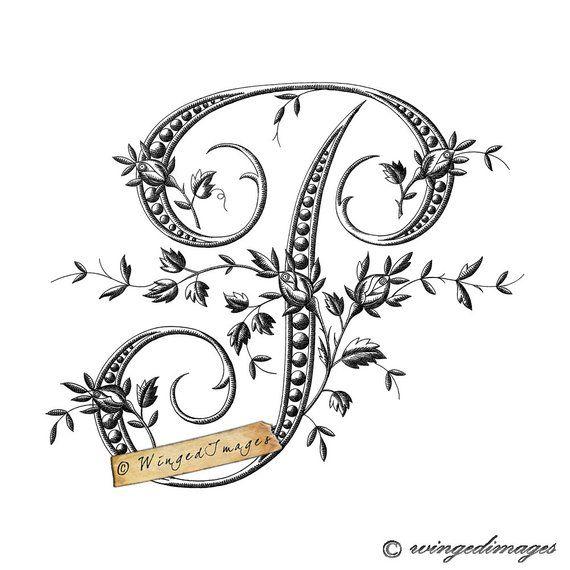 Antique French Monogram Letter P Instant Download Digital