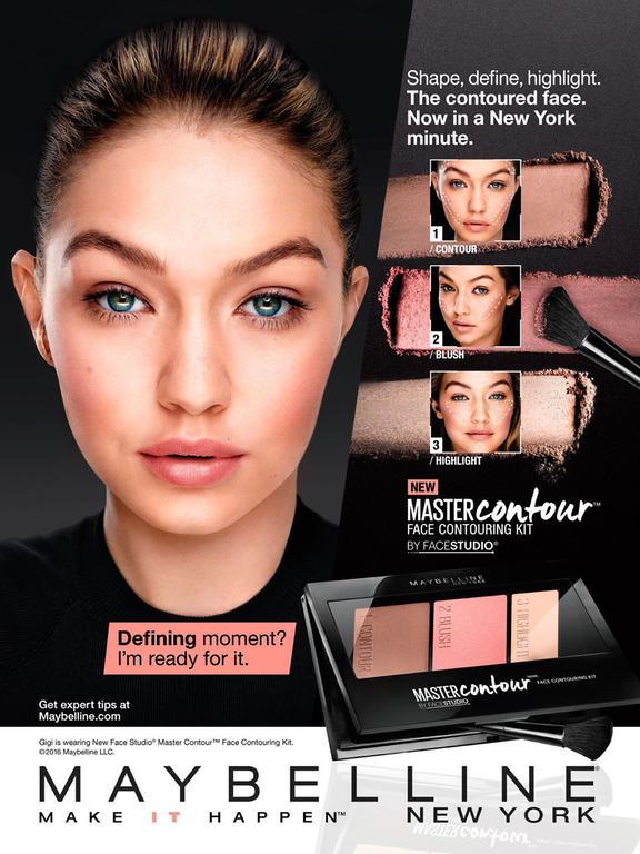 Maybelline Cosmetic Advertising Master Contour with Gigi ... Maybelline Foundation Ad